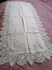 Antique Linen Extra Large Irish Linen Crochet Lace Runner 53 1/2 by 22 Inches