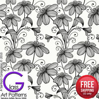 Flower Fusing Glass Decal Ceramic Waterslide Enamel-Black-White-Gold Metallic