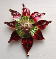 Enamel on Gold-tone Alloy Sunflower Brooch Pin - Colorful