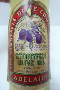 ANTIQUE STONEYFELL OLIVE OIL BOTTLE ORIGINAL LABEL ADELAIDE SOUTH AUSTRALIA