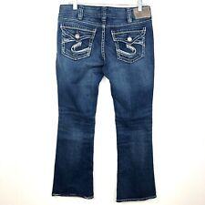 Silver Jeans Suki Flap Womens Short Petite 12P Dark Wash Boot Flare Mid Rise