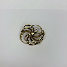 Vintage 9ct Gold Swirl Brooch 375 Stamped Yellow Metal A*D Signed