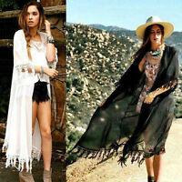 Ladies Summer Cardigan and Kimono Long Fringe Blouse Top Shawl Beach Wear IY