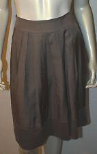 M-PREMIER Brown Taupe Pleated Cupro Wool Skirt Velvet Hemline Trim 38 6 8
