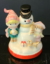 Rare Vintage 1977 Ceramic Joan Walsh Anglund Music Box Plays Frosty The Snowman!