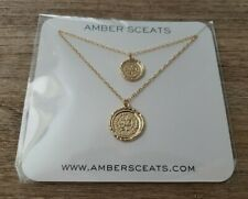 Amber Sceats Australia Double Coin Gold Tone Layered Necklace New in Package