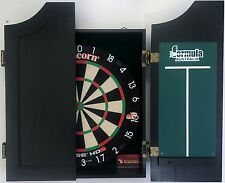 Unicorn HD 2 HD2 Competition Dart Board & TIMBER Black Wooden Cabinet + 6 Darts
