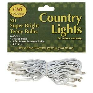 Primitive Teeny Rice Lights String Light Set 20 Ct WHITE Cord Wire Wedding Count