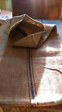 Antique vintage GRAIN SACK feedsack blue-viola stripes   hemp linen GRAINSACK
