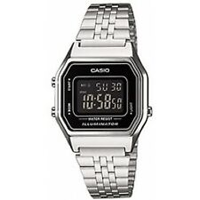 Casio La 680 WEA 1 B Unisex Chronograph Digital Watch Black Dial Silver