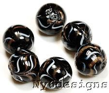Ny6design *6Pcs Lampwork beads Black Taffy Zebra 16mm (L44)b