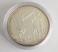 Silber Münze Zwei Reiter mit Speer 5 Rubel Olympiade 1980 Moskau Moscow Olympia