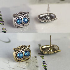 Cute Vintage Retro Art Deco Bronze Owl Head Ear Stud Earrings Jewellery 2Pairs
