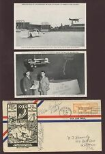 WORLDS FAIR 1934 PPCs + COVER LAST FLIGHT SIGNED ADAMS