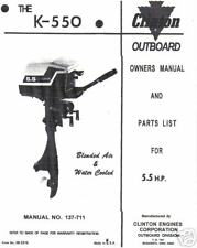 clinton k550, parts list owners manual 5.5hp
