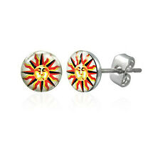 Sun Burst Face Logo Yellow Orange Red Stainless Steel Earrings