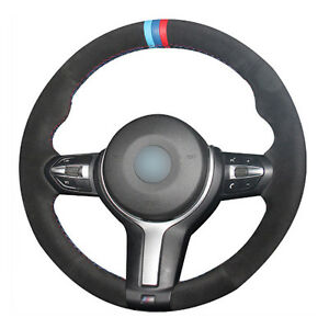 Top Leather Steering Wheel Hand-stitch on Wrap Cover For BMW F22 M4 M5 M6 X5 X6