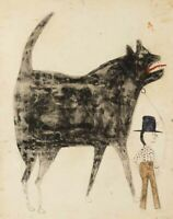 Bill Traylor : Man and Large Dog : Archival Quality Art Print