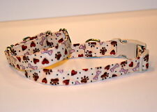 "5/8"" XS Snap Closure Dog Collar Bones, Paws and Hearts on Beige"