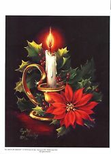 Set of 5 Prints  'Candle & Poinsettia' by Crystal Skelley'  for Decoupage