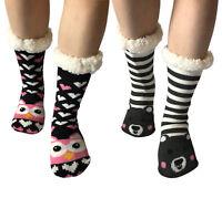 Women Sherpa Lined Thermal Non Skid/Slip Indoor Animal Knit Thick Slipper Socks