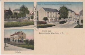 Ansichtskarte Sachsen  Langenleuba Oberhain  Gastwirtschaft Dittrich  Schule etc