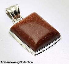 GOLDSTONE PENDANT 925 STERLING SILVER ARTISAN JEWELRY COLLECTION Y177B