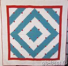 Americana Pa Log Cabin Vintage Quilt Red white Blue Patriotic 78 x 76 Crisp