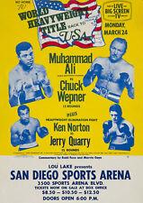 MUHAMMAD ALI vs. CHUCK WEPNER - San Diego Sports Arena - Vintage Sports Poster
