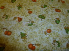 """Cotton Fabric Vintage Sateen Manes Co Victorian Fruit on Gold Toile Type  2Y34"""""""