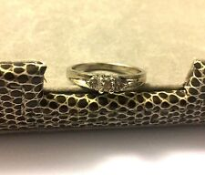 10K AFJC White Solid Gold Lovely Ladies Diamond Engagement Ring Band Size 6