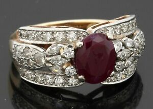 GIA certified antique heavy Platinum/14K gold 3.39CTW diamond/ruby cocktail ring