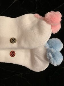 2 Pr. Women's Vtg POM POM Socks Baby BLUE & PINK Acrylic Super Soft! Sz S