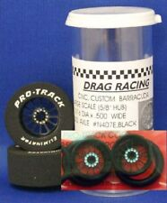 "Pro Track ""Turbine Black"" 1 1/16"" x .500 wd Matching Rr & Ft 1/24 Slot Car Drag"