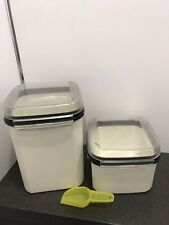 More details for tupperware 2 modular mate square hinged lid container box with original scoop
