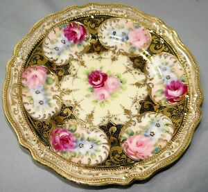"""Vtg Nippon Hand Painted 6 1/2"""" Plate Gold Moriage & Pink Roses"""