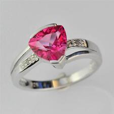 STERLING SILVER PINK TOPAZ AND DIAMOND RING