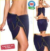 COQUETA ladies Chiffon Wrap Pareo Dress Sarong Beach Bikini Swimsuit Cover Up