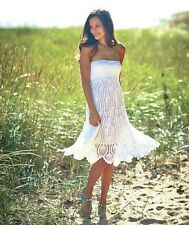 Women's White Crochet Convertible Cover Up Summer Dress Beach Skirt Medium 10/12