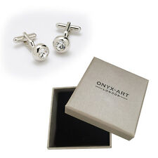 Mens Clear Crystal Circular Cufflinks & Gift Box By Onyx Art Smart Fashion