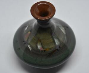 "Polia Pillin Art Pottery Vase with Birds 3 1/4"""