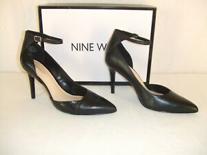 """Nine West """"Forgiveno"""" Black Leather High Heel Ankle Strap Shoe 9 M ~ New In Box"""