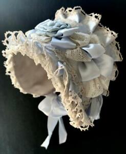 "Fine Silk Doll Bonnet for Antique Doll app 13"" Head Circumference GABRIELLA'S"