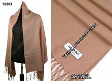 Camel Classic Soft 100% Real Pashmina Cashmere Wool Shawl Wrap Scarf High Grade