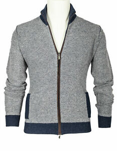 Fedeli Cardigan IN Grey-Blue Mottled Made from Pure Wool/Cashmere RegEUR590