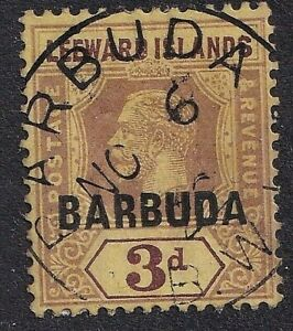 KGV 3d Leeward Islands Stamp Overprinted Barbuda Fine Used