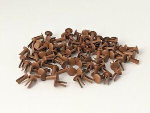 """100 Vintage Bifurcated Split Rivets 3/8""""/ 10 mm Golden Brown UK made LAND ROVER"""