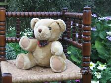 Metro UK Thirsk Beige Bear With Tartan Bow Gold Label 10 inch Sitting