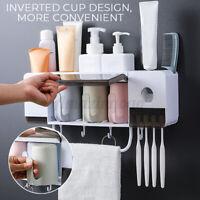 Toothbrush Holder Stand 2/3/4Cup Set Shelf Bathroom Toothpaste Storage Rack
