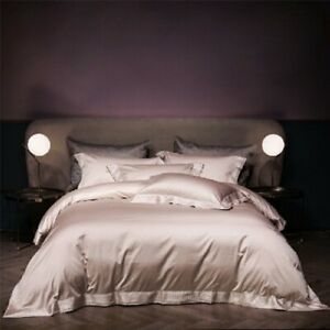 Gray 1000TC Egyptian Cotton Queen Sz Bedding Set Luxury Embroidery Bed Sheet Hot